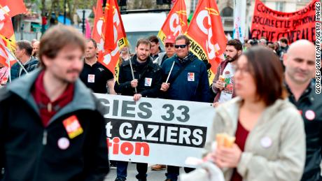 French railway workers attend a protest in Bordeaux on Tuesday.