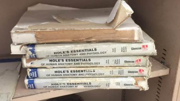 Teacher Mary Burton shared this picture of the anatomy books her students have to use at Eisenhower High School in Lawton, Oklahoma.
