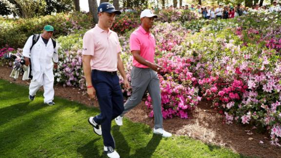Woods played some practice holes with US PGA champion and world No.2 Justin Thomas Monday.