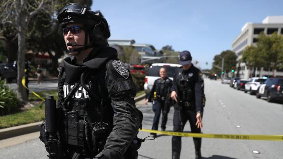 Police respond to YouTube headquarters in San Bruno, California, after gunshots were reported there on Tuesday, April 3. At least three people were injured in a shooting, according to San Bruno Police Chief Ed Barberini, and the suspected shooter was found dead. Barberini said the dead woman appeared to take her own life but the investigation was just beginning.