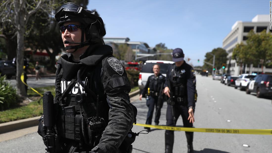 "Police respond to YouTube headquarters in San Bruno, California, after gunshots <a href=""https://www.cnn.com/2018/04/03/us/youtube-hq-shooting/index.html"" target=""_blank"">were reported there</a> on Tuesday, April 3. At least three people were injured in a shooting, according to San Bruno Police Chief Ed Barberini, and the suspected shooter was found dead. Barberini said the dead woman appeared to take her own life but the investigation was just beginning."
