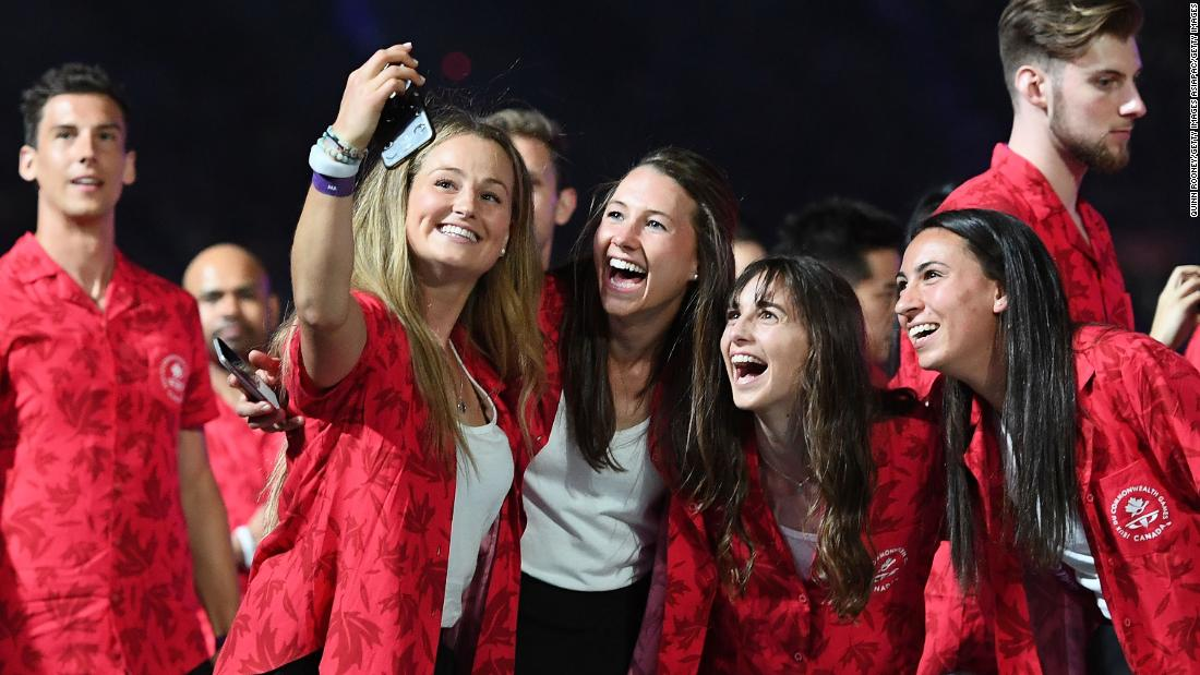 Members of the Canadian team take the obligatory selfie.