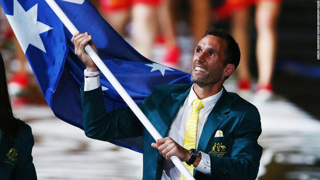 Australia's flagbearer was Mark Knowle, who is the men's hockey captain.