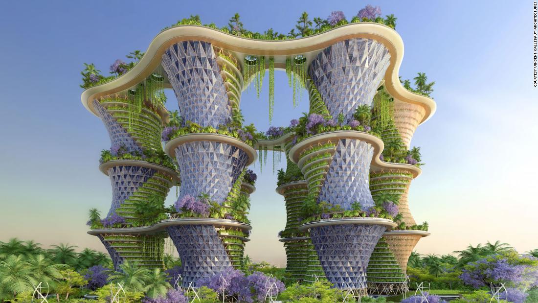 A self-sustaining garden tower called 'Hyperions' was proposed by architect Vincent Callebau to be built near New Delhi, India. The design could allow occupants to grow  vegetables on their balconies.
