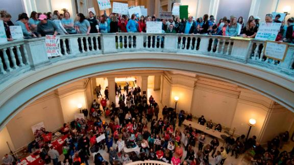 Teachers rally at the state capitol in Oklahoma City, Oklahoma on April 4, 2018.