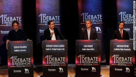 (L to R) Colombian presidential candidates: Sergio Fajardo, for the Colombia Coalition; German Vargas Lleras,  for the Cambio Radical Party; Ivan Duque, for the Democratic Center Party and Gustavo Petro for the Colombia Humana Party, take part in a TV debate in Medellin on April 3, 2018.  Colombia will hold presidential elections on May 27. / AFP PHOTO / JOAQUIN SARMIENTO        (Photo credit should read JOAQUIN SARMIENTO/AFP/Getty Images)
