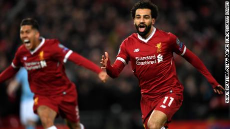 Mo Salah of Liverpool celebrates after scoring against City on April 4 at Anfield.