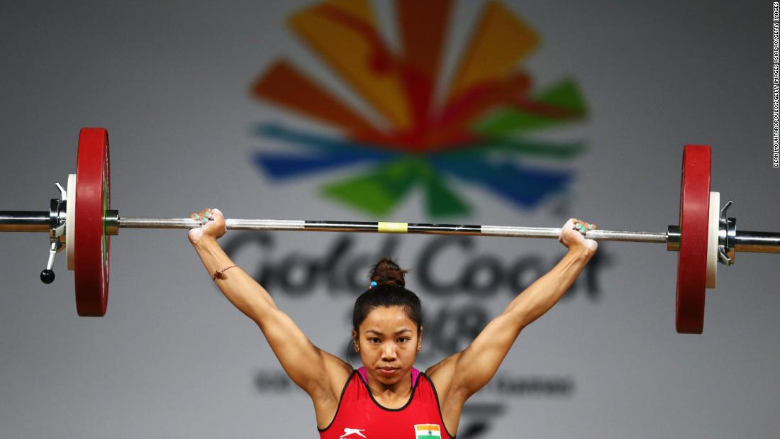 Chanu Saikhom Mirabai of India competes during the weightlifting women's 48kg final.