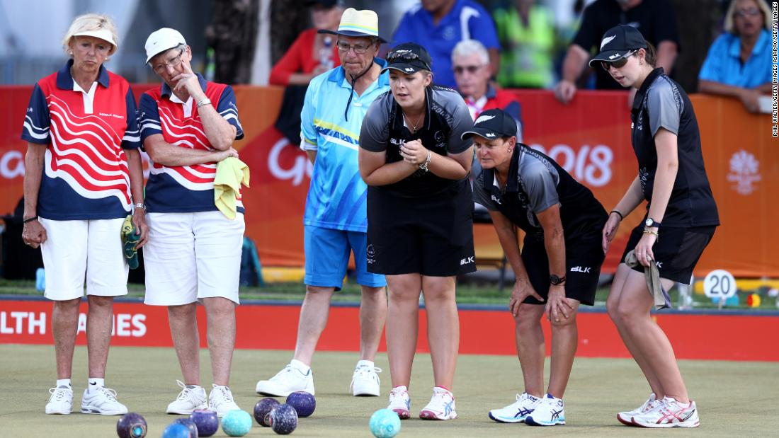 The New Zealand women's fours team of Katelyn Inch, Tayla Bruce, Val Smith and Mandy Boyd in their game against Jersey in the team lawn bowls.