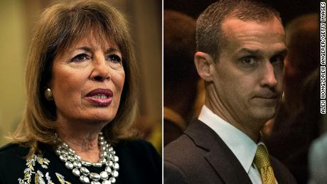 At left, Rep. Jackie Speier, a California Democrat, and, at right, former Trump campaign manager Corey Lewandowski.
