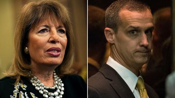 At left, Rep. Jackie Speier, a California Democrat, and, at right, former Trump campaign manager Corey Lewandowski.