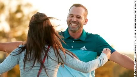 Golf: The Masters: Sergio Garcia victorious with his fiancee Angela Akins after winning playoff and tournament on Sunday at Augusta National.  Augusta, GA 4/9/2017 CREDIT: Erick W. Rasco (Photo by Erick W. Rasco /Sports Illustrated/Getty Images) (Set Number: GFP44 TK5 )