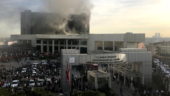 The fire broke out on the roof of Taksim Training and Research Hospital in northern Istanbul.