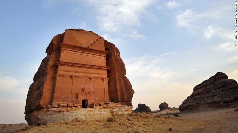 A carved rose-coloured sandstone mountain in the Nabataean archaeological site of al-Hijr near the northwestern town of al-Ula, Saudi Arabia.