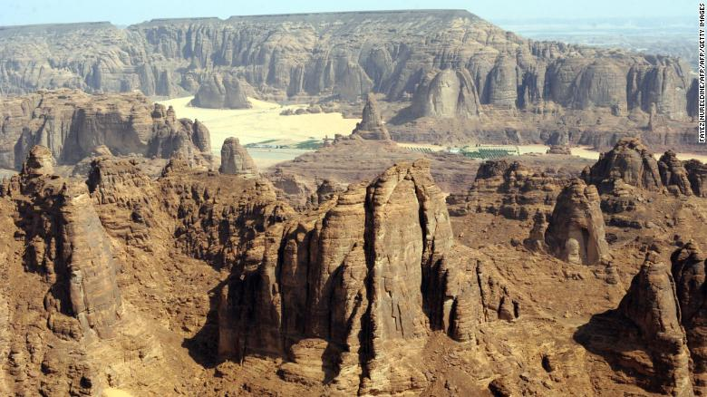 A general view of the Nabataean archaeological site of al-Hijr near the northwestern town of al-Ula, Saudi Arabia.