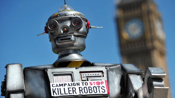 """A mock """"killer robot"""" is pictured in central London on April 23, 2013 during the launching of the Campaign to Stop Killer Robots."""