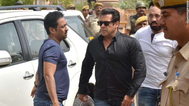 Salman Khan arrives at court to hear the verdict in the long-running wildlife poaching case against him Thursday in Jodhpur, India.