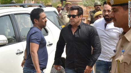 Indian Bollywood actor Salman Khan arrives at a court to hear the verdict in the long-running wildlife poaching case against him in Jodhpur on April 5, 2018. Salman Khan was found guilty April 5 of killing endangered Indian wildlife nearly two decades ago, a prosecutor said, a charge that could see the Bollywood superstar jailed for six years. / AFP PHOTO / -        (Photo credit should read -/AFP/Getty Images)