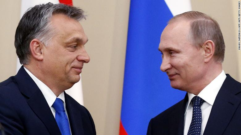 Russian President Vladimir Putin (R) and Hungarian Prime Minister Viktor Orban attend a joint press conference following their meeting at the Novo-Ogaryovo state residence outside Moscow, on February 17, 2016. AFP PHOTO / POOL / MAXIM SHIPENKOV / AFP / POOL / MAXIM SHIPENKOV        (Photo credit should read MAXIM SHIPENKOV/AFP/Getty Images)