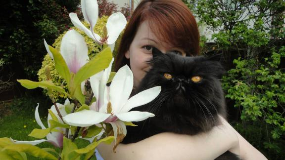 Yulia Skripal with a cat, in a picture posted on her Facebook page.