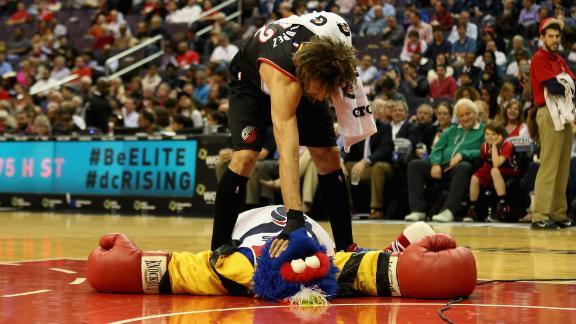 The NBA's Robin Lopez has a thing for messing with mascots.