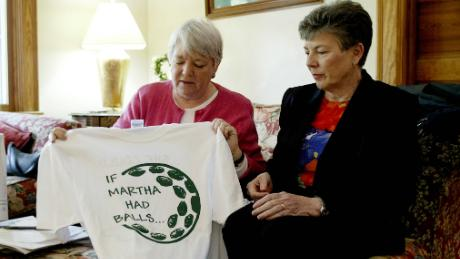 Martha Burke (right), chairwoman of the National Council of Women's Organizations, discusses an anti-Burke shirt with Heidi Hartman, vice-chairwoman of the National Council of Women's Organizations, during Masters week in 2003.