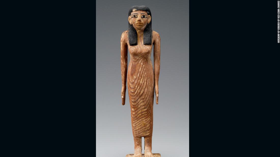 "A female figure was also found, thought to be Lady Djehutynakht. These funerary figurines, <a href=""http://www.mfa.org/collections/object/model-of-a-transport-boat-143700"" target=""_blank"">shawabtys</a>, were meant to act as a substitute for the dead in the afterlife, when the gods asked them to perform menial tasks."