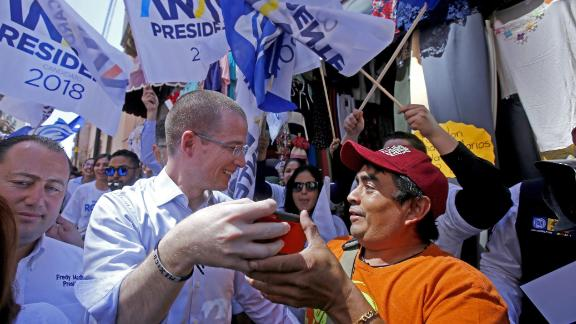 Presidential candidate Ricardo Anaya greets  supporters during an April rally in the state of Jalisco.