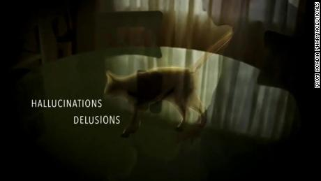 Creatures like cats and snakes can haunt patients with Parkinson's disease psychosis, as shown in Acadia's TV commercial.