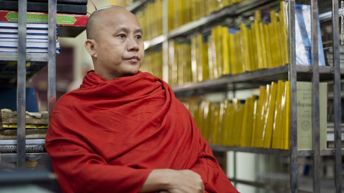 Controversial Myanmar monk Wirathu speaking during an interview at a monastery in Myanmar's second biggest city of Mandalay.