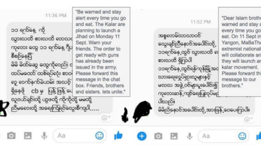 Facebook Messenger conversations, screenshotted and included with an open letter to Mark Zuckerberg from Myanmar tech companies.