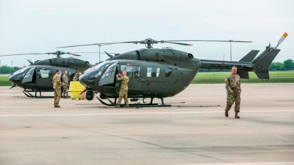 AUSTIN, TX - APRIL 06: Texas National Guard helicopters traveling to the Texas-Mexico border prepare to fly on April 6, 2018 in Austin, Texas. Brigadier General Tracy Norris announced during a press conference that the Texas National Guard will immediately deploy an expected 250 peronnel with supporting aircraft, vehicles and equipment within 72 hours. (Photo by Drew Anthony Smith/Getty Images)