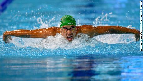 South Africa 's Chad Le Clos during his record-breaking swim in the men's 200m butterfly final.