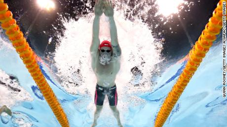 Adam Peaty of England during the Men's 100m breaststroke final.