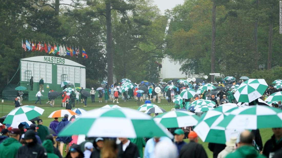 Spectators endured a rainy Saturday during the third round of the 2018 Masters Tournament at Augusta National Golf Club.