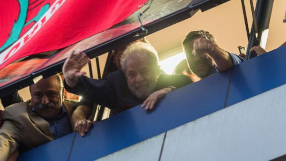 SAO BERNARDO DO CAMPO, BRAZIL - APRIL 06: Former President Luiz Inacio Lula da Silva greets his supporters from a window of the Metalworkers