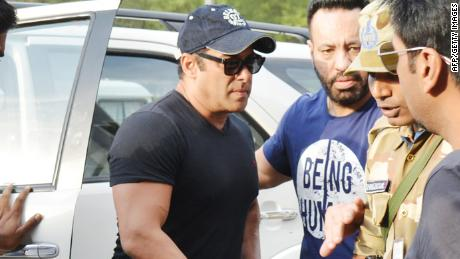 Indian Bollywood actor Salman Khan arrives at Jodphur airport after an India court release him on  bail, in Jodhpur on Saturday, April 7, 2018. An Indian court on April 7 granted bail to Bollywood superstar Salman Khan so he can contest a five-year prison sentence for killing endangered wildlife nearly two decades ago. Khan, one of the world's highest paid actors, was imprisoned on Thursday after a court found him guilty of killing rare antelopes known as black bucks on a hunting trip while shooting a movie in 1998.