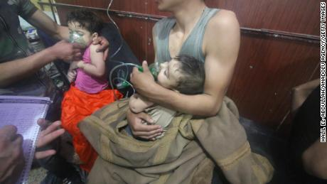 Children receive medical treatment after a suspected chemical attack in Douma.