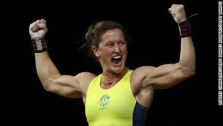 GOLD COAST, AUSTRALIA - APRIL 06:  Tia-Clair Toomey of Australia reacts after winning the gold medal during the Women's 58kg Weightlifting Final on day two of the Gold Coast 2018 Commonwealth Games at Carrara Sports and Leisure Centre on April 6, 2018 on the Gold Coast, Australia.  (Photo by Robert Cianflone/Getty Images)