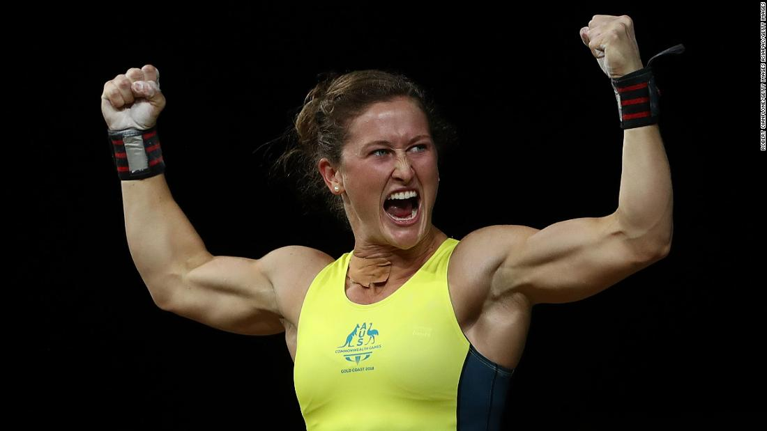 Tia-Clair Toomey of Australia reacts after winning the gold medal during the Women's 58kg Weightlifting Final at the Commonwealth Games on Australia's Gold Coast.