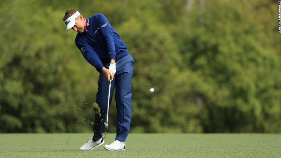 Ian Poulter plays a shot on the fifth hole on Sunday.