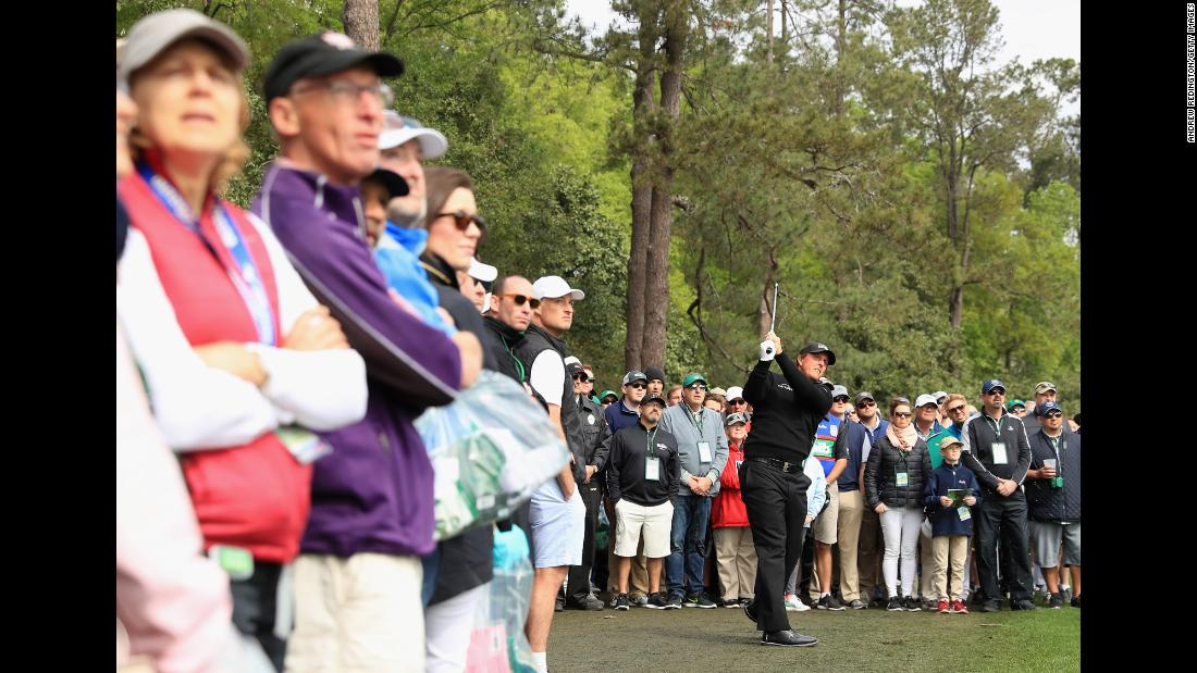 Phil Mickelson plays his second shot on the fifth hole during the final round.