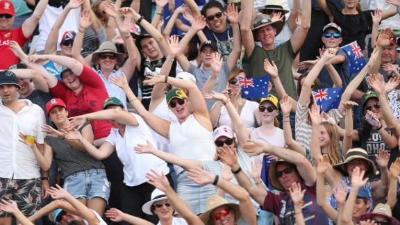 Crowds enjoy the atmosphere during the beach volleyball women
