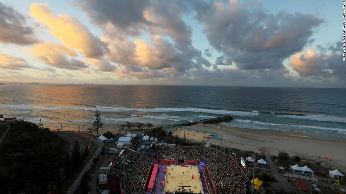 The beautiful backdrop of the Coolangatta Beachfront hosts the Games' beach volleyball matches.