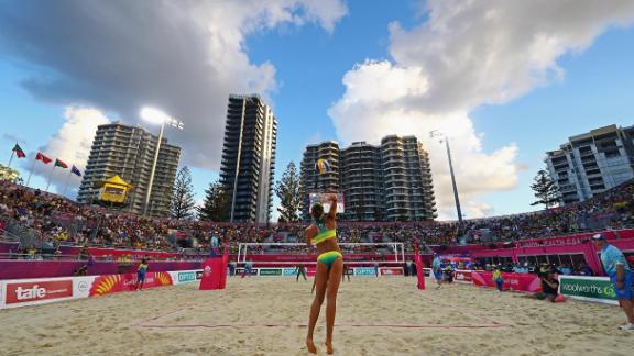Mariafe Artacho del Solar and Taliqua Clancy of Australia play against Thornia Williams and Renisha Stafford of Grenada.