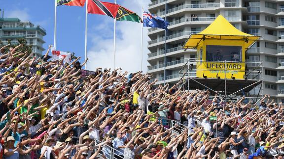Fans get into the party spirit at the Coolangatta Beachfront -- and why not!