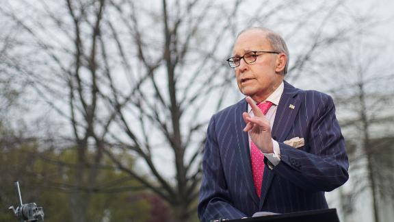 National Economic Council Director Larry Kudlow speaks during an interview in front of the White House on April 6, 2018 in Washington, DC.  / AFP PHOTO / Mandel NGAN