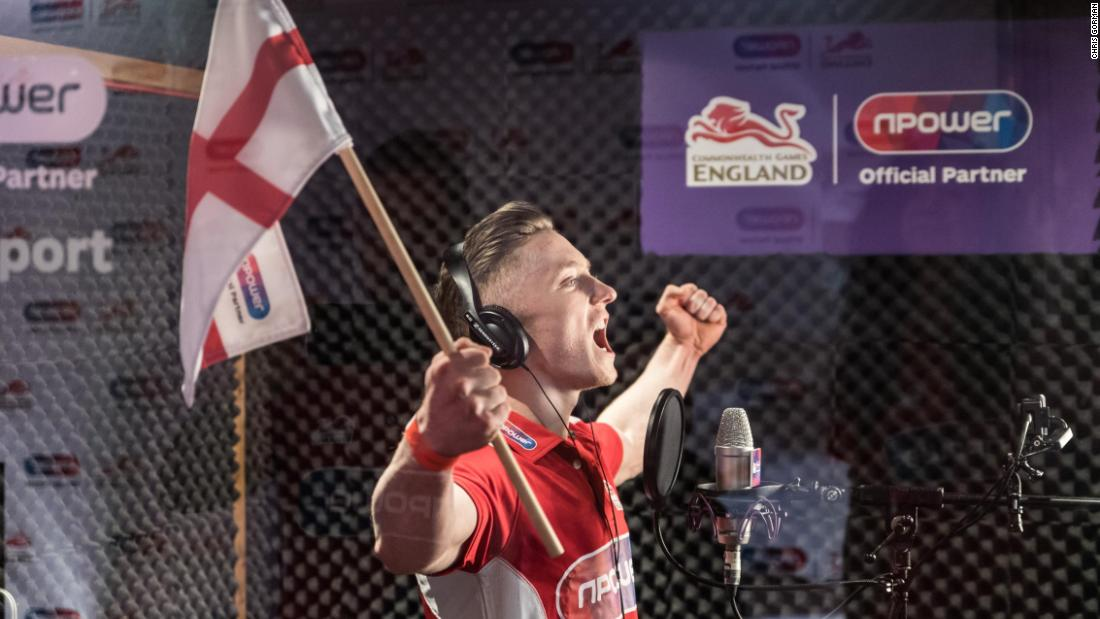 Gymnast Nile Wilson adds his own vocals to the anthem in the Abbey Road recording studios.