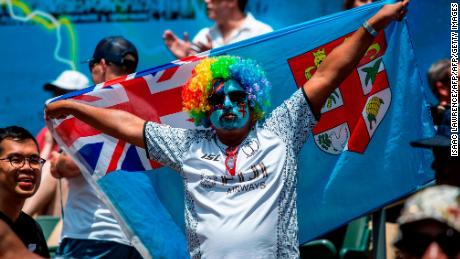 A fan supporting Fiji attends the third day of the Hong Kong Sevens rugby tournament in Hong Kong on April 8, 2018. / AFP PHOTO / ISAAC LAWRENCE        (Photo credit should read ISAAC LAWRENCE/AFP/Getty Images)