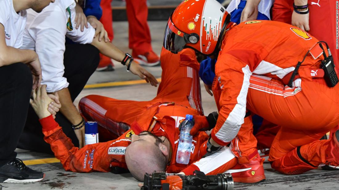 Vettel won for the second time in as many races at the Bahrain Grand Prix. But the Italian team's victory was overshadowed after one of its mechanics suffered a broken leg when he was hit by Raikkonen's car during a pit stop.